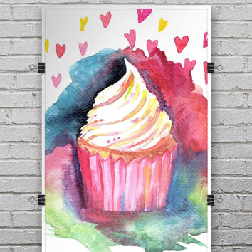 Love, Cupcakes, and Watercolor - Ultra Rich Poster Print