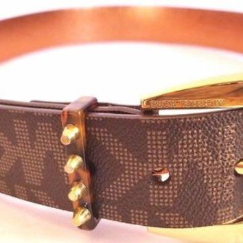 DCCKLO8 MICHAEL KORS SIGNATURE LOGO MK BELT SIZE M BROWN TAN NWT