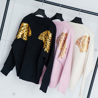 Buy CHERJOE Wing Sequined Sweater | YesStyle