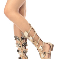 Beige Faux Nubuck Wild Wings Gladiator Sandals