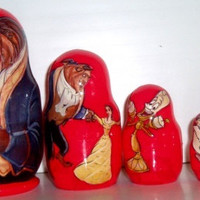 Beauty and traditional russian nesting doll Matreshka hand made curved toy christmas birthday gift collectible linden acrylic wood birch