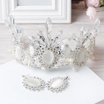 2017 Wedding Bridal Headdress Headband Rhinestone Queen Crown Tiara & Earrings