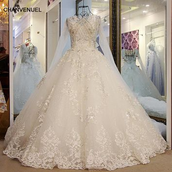 LS56578 Sparkly Princess wedding Dress Lace Up Back Ball Gown Long Sleeves Lace Sequins Wedding Gowns Online Shop China