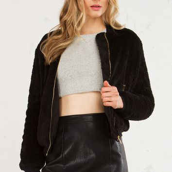 Plush Fur Bomber Jacket in Grey and Black