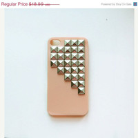 ON SALE Silver Studded Pyramid Light Pink iPhone 4 4S Studded Hard Phone Case