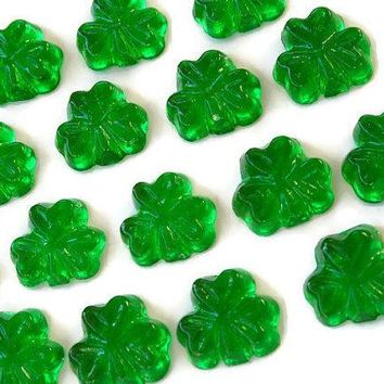 Green Candy Shamrocks   St. Patricks Day Hard Candy   32 Candy Pack   Cake Decorations Irish Wedding Favors Party Favors Celtic Wedding