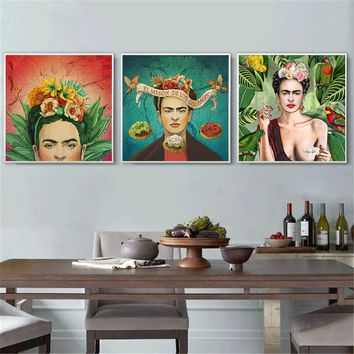 Abstract Oil Painting Frida Kahlo Posters and Prints Canvas Wall Art Picture for Living Room Decoration Home Scandinavian Frida