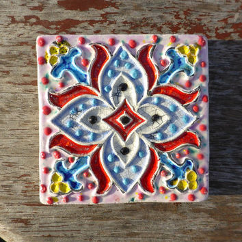 Portuguese azulejo, wall decoration tile, Coasters glazed with, yellow, blue,pink, red and white crackle, contemporary tile