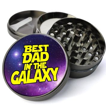Best Dad In The Galaxy Fathers Day Gift Large Metal 5 Piece Herb Grinder With Fine Screen - Cheap Custom Grinders