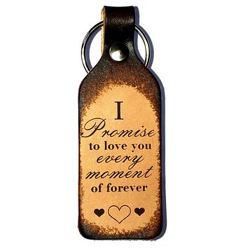 I Promise to Love You Leather Keychain