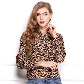 PEAPGB2 New fashion Women Wild Leopard print chiffon blouse lady sexy Long-sleeve top shirt S/M/XL loose plus size V neck leopard blouse