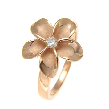 PINK ROSE GOLD PLATED STERLING SILVER 925 HAWAIIAN PLUMERIA FLOWER RING 15MM CZ