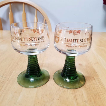 2 Schmitt Sohne Wine Cordial Glasses West Germany Green Stem Goblets