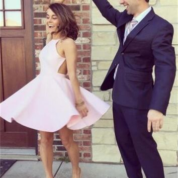 Simple Homecoming Dress 2017, Spaghetti Straps Backless Homecoming Dress