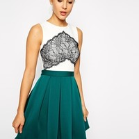 ASOS Lace Panel Bonded Skirt Skater Dress