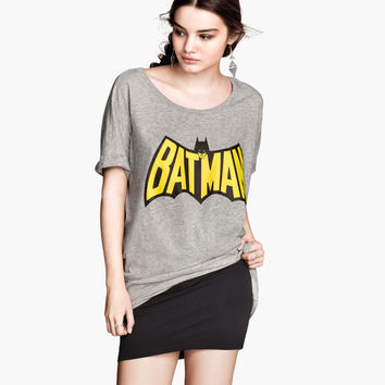"Gray ""BATMAN"" Print Shirt Tee"