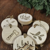 Handcrafted Wood Burned Rustic Ornament Assortments ONE (Set of 2 Ornaments)
