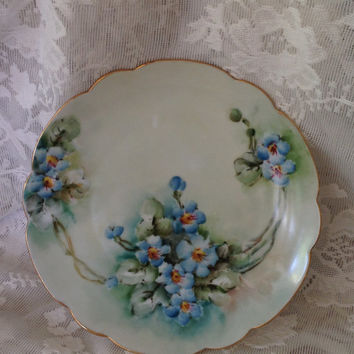 Antique Bavaria Cabinet Plate Hand Painted Periwinkle Blue Floral Swag Spray Design Scalloped Edge 1900-1930