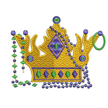 MARDI GRAS Crown Embroidery Design 4x4 5x7 6x10 and 8 Formats Instant Download