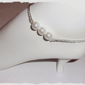 Silver white pearl ankle bracelet, anklet, jewelry, wedding, bridesmaid gifts