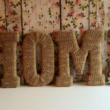 Handmade Decorative Letters-HOME by Tightly Wound Designs