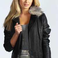Fiona PU Biker Jacket With Fur Collar Jacket