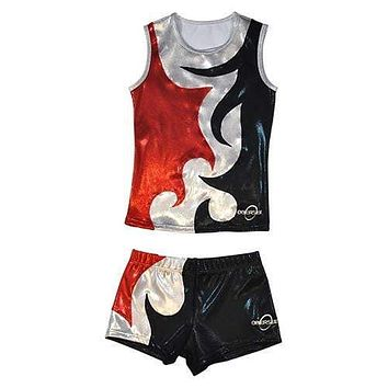 O3CHSET063 - Obersee Cheer Dance Tank and Shorts Set - Mia Red