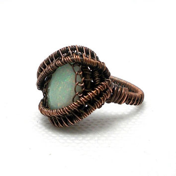 Flashy ethiopian opal ring, copper opal ring, wire wrapped opal ring, copper ethiopian opal ring, natural gemstone ring, rustic ring