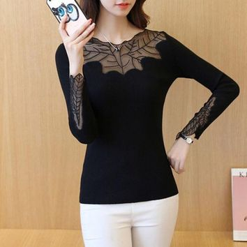 DCCKVQ8 Knitted Sexy Lace Long Sleeve Bottoming Shirt