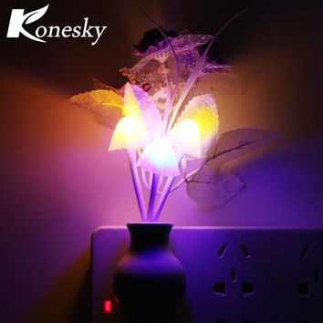 Luminaria LED Night Light Lamp Novelty Light Sensor Colorful Nightlights US Plug Mushroom Flower Plant Lilac