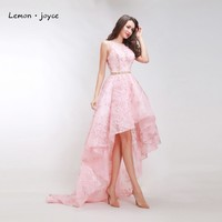 Luxury High Low Prom Dresses 2018 New O-neck Sleeveless Flower Formal Evening Pink Party Long Gowns Plus Size