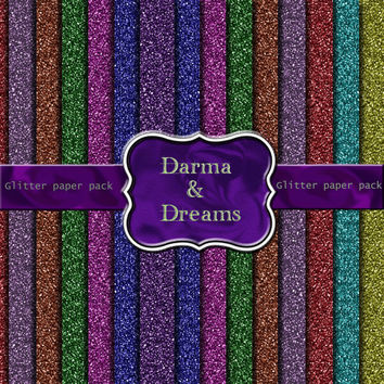Glitter digital paper pack, Scrapbook paper, Background