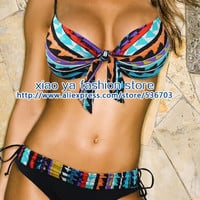 adjustable Spaghetti straps printed underwired push up padded bikini low waist 2pcs womens blue swimwear swimsuit cheap price