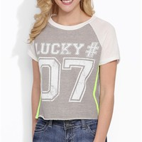 "short sleeve french terry crop top with ""lucky 07"" screen and stones"