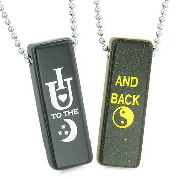 I Love You to the Moon and Back Love Couples Magic Amulets Blue Goldstone Black Agate Tag Necklaces