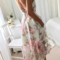 A| Chicloth Summer Floral Print Casual Sleeveless Women Long Mesh Dress