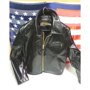 Schott NYC  Horsehide Leather Jacket  Black 689H
