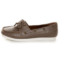 C Label Ponie 4 Grey Brown Boat Shoe Flats - $27.00