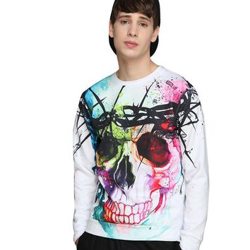 Autumn and winter skull 3D printing hedging sweater