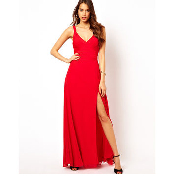 Sexy V-neck Spaghetti Strap Backless Vacation Prom Dress Split Chiffon Bandages One Piece Dress [4919735108]