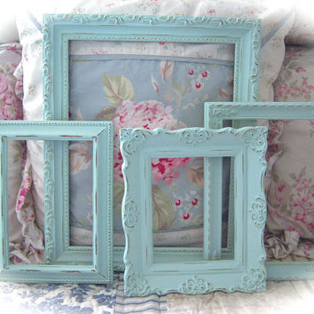 DECEMBER SALE Shabby Vintage Robin's Egg Blue Distressed Ornate Carved Gesso Picture Photo FRAMES Set 4 Cottage Chic