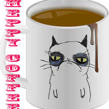 grumpy cat cute  Mug size 8,2 x 9,5 cm coffee mug,tea mug