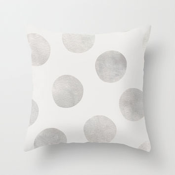 Silver Polka Dots Throw Pillow by Georgiana Paraschiv