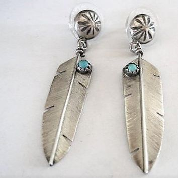 Sterling Single Feather Earrings, Native American, Turquoise Highlights, , Pierced Earrings