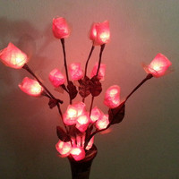 Tree Rose Branch Light on wooden vase oriental style  for home decorate or bedroom lighting