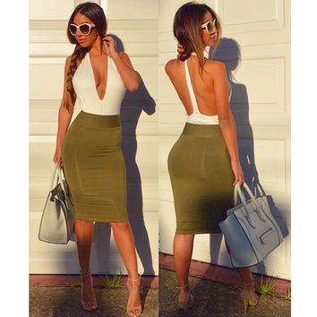 Green Backless V-Neck Bodycon Dress
