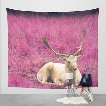 Deer tapestry, pink wall tapestry, photo tapestry, wall hanging, fantasy, nature decor, oversized, rustic, stag, animal tapestry, dorm decor
