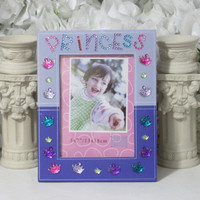 Princess Gifts - Princess Crown - Girls Gifts - Purple Frame - 5x7 Frame - Little Girls Room Decor - Birthday Gifts - Friends Gifts
