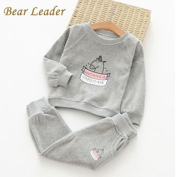 Girls Clothing Sets Wool Sportswear Long Sleeve Cute Horse Embroidered Sequin Sets Kids Clothing Sets