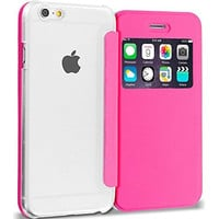 Hot Pink Slim Wallet Flip Case Clear Back Window Cover for Apple iPhone 6 Plus 6S Plus (5.5)